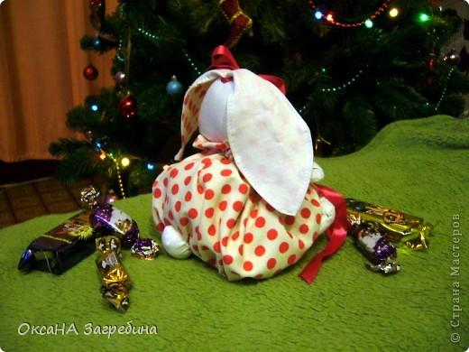 Вот такая вот зайка - подарок любимой крестнице. Внутри - конфетки и мандаринки.  фото 2