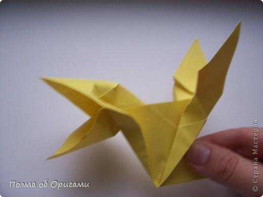 Двигающиеся модели неспроста пользуются большим успехом. Обычный сложенный квадрат способен буквально ожить в руках мастера. Каждая из этих трех птичек умеет делать что-то свое.  Желтый птенец, как и подобает птичьим малышам - постоянно голоден, а потому, характерно для этого, то открывает широко клюв, то лишь ненадолго его прикрывает. Его придумал Хуан Гимено из Испании. Красная птица умеет махать крыльями. В своем мастерстве она по праву считается одной из лучших в мире, так как ее крылья во время полета совершают широкие взмахи, почти сходясь сверху и снизу тела. Ее придумал Самуэль Рандлетт из США. Синяя птица умеет ловко клевать зернышки из кормушки. Эта модель, в отличии от предыдущих, известна очень давно и легко складывается с небольшой вариацией из классической модели журавлика. Вся конструкция крепится к ленте с помощью не больших канцелярских прищепочек.  В любой момент каждая из них готова от нее оторваться, что бы с радостью заняться своим излюблиным занятием в Ваших руках. фото 15