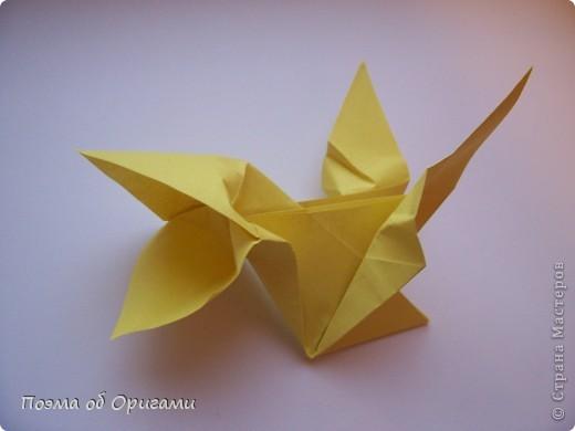 Двигающиеся модели неспроста пользуются большим успехом. Обычный сложенный квадрат способен буквально ожить в руках мастера. Каждая из этих трех птичек умеет делать что-то свое.  Желтый птенец, как и подобает птичьим малышам - постоянно голоден, а потому, характерно для этого, то открывает широко клюв, то лишь ненадолго его прикрывает. Его придумал Хуан Гимено из Испании. Красная птица умеет махать крыльями. В своем мастерстве она по праву считается одной из лучших в мире, так как ее крылья во время полета совершают широкие взмахи, почти сходясь сверху и снизу тела. Ее придумал Самуэль Рандлетт из США. Синяя птица умеет ловко клевать зернышки из кормушки. Эта модель, в отличии от предыдущих, известна очень давно и легко складывается с небольшой вариацией из классической модели журавлика. Вся конструкция крепится к ленте с помощью не больших канцелярских прищепочек.  В любой момент каждая из них готова от нее оторваться, что бы с радостью заняться своим излюблиным занятием в Ваших руках. фото 17