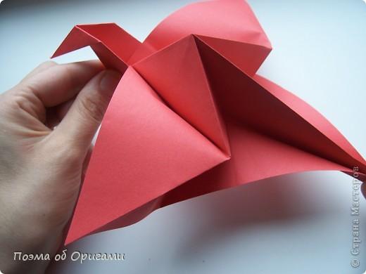 Двигающиеся модели неспроста пользуются большим успехом. Обычный сложенный квадрат способен буквально ожить в руках мастера. Каждая из этих трех птичек умеет делать что-то свое.  Желтый птенец, как и подобает птичьим малышам - постоянно голоден, а потому, характерно для этого, то открывает широко клюв, то лишь ненадолго его прикрывает. Его придумал Хуан Гимено из Испании. Красная птица умеет махать крыльями. В своем мастерстве она по праву считается одной из лучших в мире, так как ее крылья во время полета совершают широкие взмахи, почти сходясь сверху и снизу тела. Ее придумал Самуэль Рандлетт из США. Синяя птица умеет ловко клевать зернышки из кормушки. Эта модель, в отличии от предыдущих, известна очень давно и легко складывается с небольшой вариацией из классической модели журавлика. Вся конструкция крепится к ленте с помощью не больших канцелярских прищепочек.  В любой момент каждая из них готова от нее оторваться, что бы с радостью заняться своим излюблиным занятием в Ваших руках. фото 26