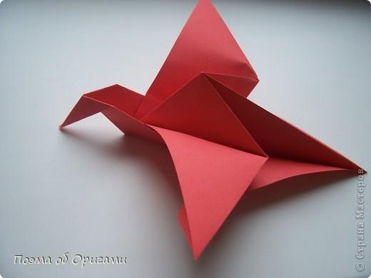 Двигающиеся модели неспроста пользуются большим успехом. Обычный сложенный квадрат способен буквально ожить в руках мастера. Каждая из этих трех птичек умеет делать что-то свое.  Желтый птенец, как и подобает птичьим малышам - постоянно голоден, а потому, характерно для этого, то открывает широко клюв, то лишь ненадолго его прикрывает. Его придумал Хуан Гимено из Испании. Красная птица умеет махать крыльями. В своем мастерстве она по праву считается одной из лучших в мире, так как ее крылья во время полета совершают широкие взмахи, почти сходясь сверху и снизу тела. Ее придумал Самуэль Рандлетт из США. Синяя птица умеет ловко клевать зернышки из кормушки. Эта модель, в отличии от предыдущих, известна очень давно и легко складывается с небольшой вариацией из классической модели журавлика. Вся конструкция крепится к ленте с помощью не больших канцелярских прищепочек.  В любой момент каждая из них готова от нее оторваться, что бы с радостью заняться своим излюблиным занятием в Ваших руках. фото 27