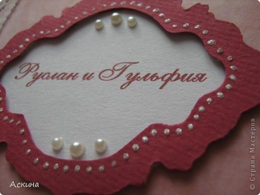 Такие свадебные фотоальбомы мы подарили своим родителям на память о нашей свадьбе. Купили обычные фотоальбомы 10 на 15 см на 36 фотографий и я украсила их на свой вкус. Первый фотоальбом сделала в бордово-розовом цвете. фото 3