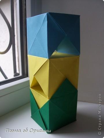 Эта башня составлена из одинаковых блоков и может быть логически продолжена до бесконечности: включать сколько угодно подобных секций и уровней. Поэтому эта модель отлично подходит для коллективной работы в коллективе. Модель этой симпатичной девушки носит имя НОА-чан и со времени со своего рождения даже успела стать символом Японской Ассоциации Оригами. фото 18