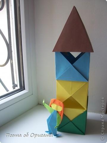 Эта башня составлена из одинаковых блоков и может быть логически продолжена до бесконечности: включать сколько угодно подобных секций и уровней. Поэтому эта модель отлично подходит для коллективной работы в коллективе. Модель этой симпатичной девушки носит имя НОА-чан и со времени со своего рождения даже успела стать символом Японской Ассоциации Оригами. фото 46