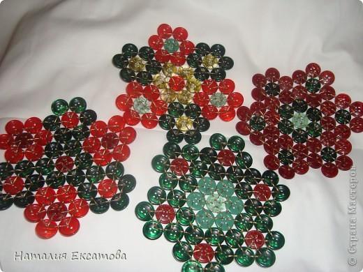 плетение из пуговиц красивая пдставка под горячее фото 5