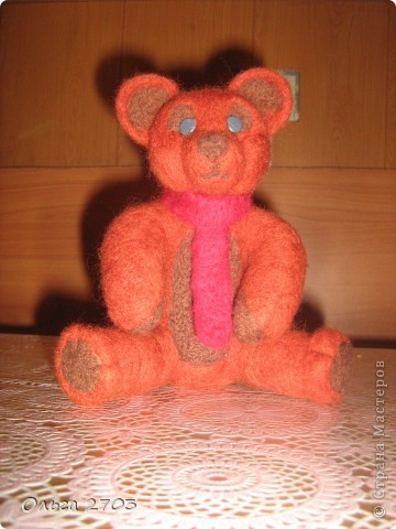 Медвежонок Федя.Моя первая валяная игрушка.