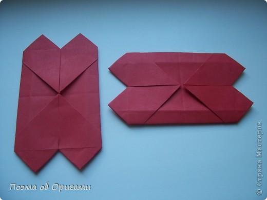 В качестве символа 2011 год делят между собой два животного китайского календаря. Видимо, это не простое совпадение, ведь у них и правда много общего. Оба с кротким нравом и пушистой шубкой.  Этого кролика придумал Стефан О`Хонор, а котика – Джо Накашима.  Подставка в форме четырех сердец – модель Френсиса Оу. Вся композиция сложена из квадратов одинакового размера(2 красных и 2 белых), в данном случае 20х20см. Как сложить из полос бумаги цифры – можете вспомнить в этом МК: https://stranamasterov.ru/node/127038 фото 16