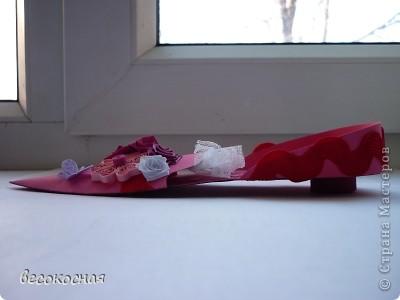 Спасибо Голубке за схему туфельки,она мне очень пригодилась!Попросили сделать открытку но, чтобы не круглую, не квадратную, не треугольную и не и не... А тут наткнулась на замечательную туфельку и поняла,что это ОНА!!!! фото 1