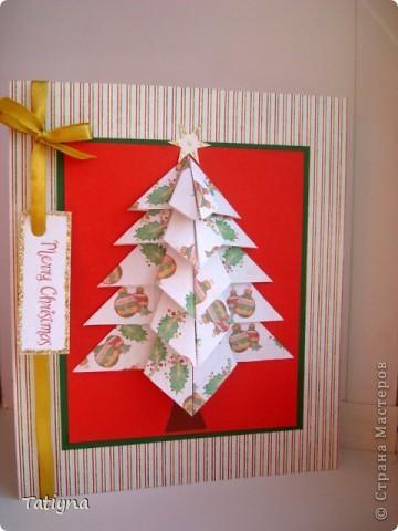 Рождественская открыточка!!! Очень понравились елочки в этой  технике, захотелось попробовать, вот что получилось. Спасибо Голубке за ссылку вот на этот сайт http://carole-ish.blogspot.com/search?updated-max=2009-10-27T11%3A31%3A00-04%3A00&max-results=7 фото 1
