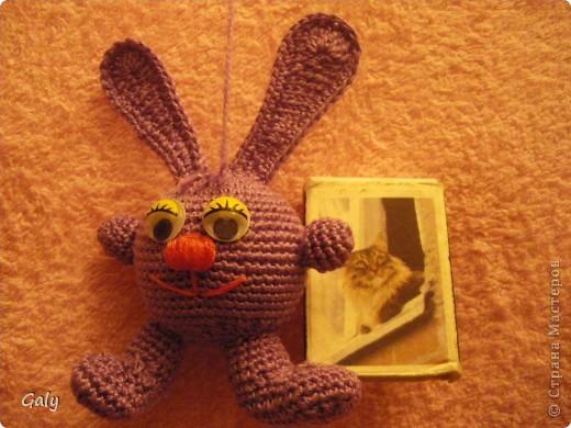 Вот такого сиреневого зайца связала мужу на Новый год. фото 4