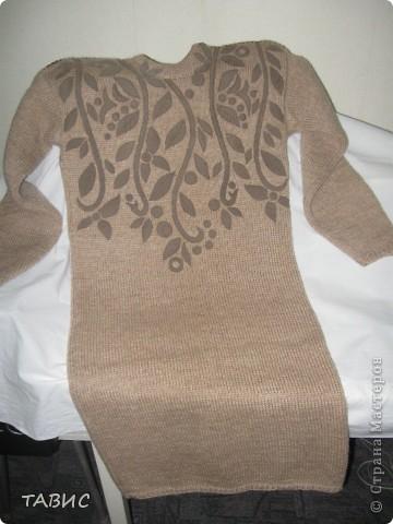 Платье из чисто шерстяной пряжи. Декор на полочке из искуственной замши. Пристрочен на машинке. фото 1