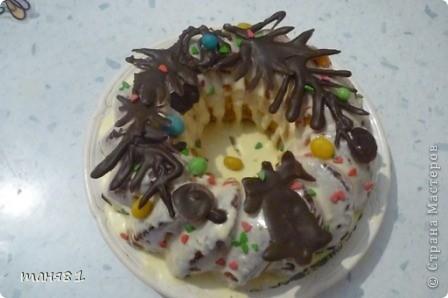 Этот тортик делала девчонкам на Рождество. Использовала форму для кекса. фото 1