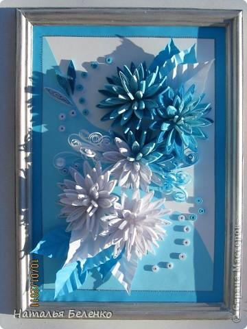 Здравствуйте уважаемые Мастера и Мастерицы!!!Представляю вашему вниманию свои зимние цветы. Захотелось снежного квиллинга, тем более что к нам пришла настоящая зима - сугробы по колено, мороз!!!Сказка!!! Размер работы 30*20см, цветочки собирала в воронку на силикон. фото 12