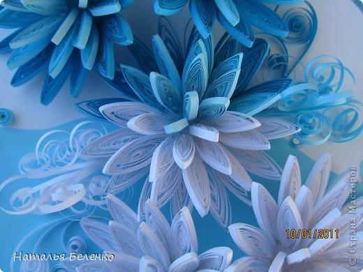 Здравствуйте уважаемые Мастера и Мастерицы!!!Представляю вашему вниманию свои зимние цветы. Захотелось снежного квиллинга, тем более что к нам пришла настоящая зима - сугробы по колено, мороз!!!Сказка!!! Размер работы 30*20см, цветочки собирала в воронку на силикон. фото 6