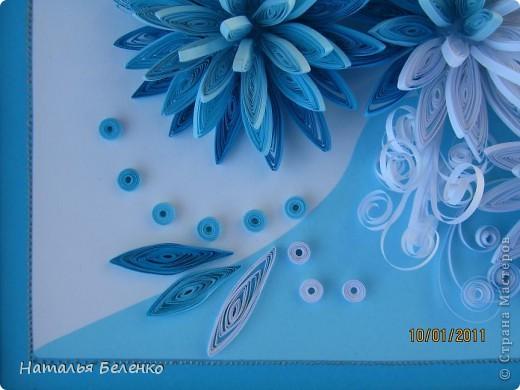 Здравствуйте уважаемые Мастера и Мастерицы!!!Представляю вашему вниманию свои зимние цветы. Захотелось снежного квиллинга, тем более что к нам пришла настоящая зима - сугробы по колено, мороз!!!Сказка!!! Размер работы 30*20см, цветочки собирала в воронку на силикон. фото 11