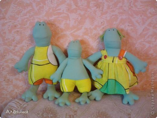 Мои первенцы. семейство началось с папы-лягуха, потом муж заказал ему жену и сыночка. фото 1