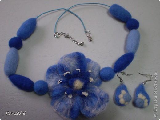 Колье и серьги в синих тонах фото 1