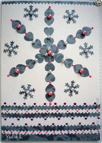 Две открытки в различных техниках, объединенные зимней тематикой.  фото 4