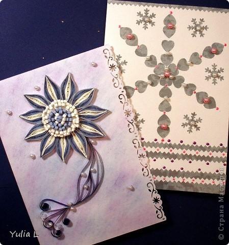 Две открытки в различных техниках, объединенные зимней тематикой.  фото 1