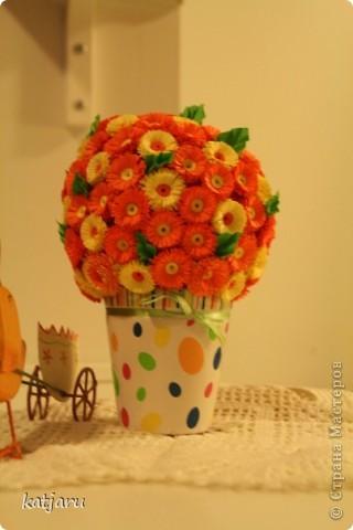 Оранжевый цветочный шар фото 1
