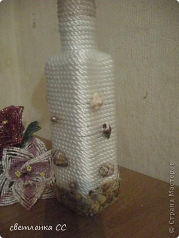 Бутылочку оформила под розочку фото 3