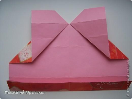 Этому мишке, трепетно прижимающего к себе большое красное сердце без труда удасться передать нежность влюбленного сердца. Для коробочки потребуется два квадрата одинакового размера (в данном случае 20х20см): для медведя - один квадрат, такого же размера, как и для коробки. Дополнительно потребуется квадрат 1/4 от такой величины. фото 16