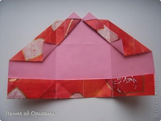 Этому мишке, трепетно прижимающего к себе большое красное сердце без труда удасться передать нежность влюбленного сердца. Для коробочки потребуется два квадрата одинакового размера (в данном случае 20х20см): для медведя - один квадрат, такого же размера, как и для коробки. Дополнительно потребуется квадрат 1/4 от такой величины. фото 22