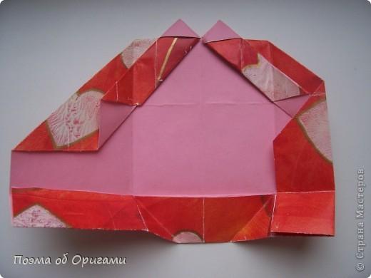 Этому мишке, трепетно прижимающего к себе большое красное сердце без труда удасться передать нежность влюбленного сердца. Для коробочки потребуется два квадрата одинакового размера (в данном случае 20х20см): для медведя - один квадрат, такого же размера, как и для коробки. Дополнительно потребуется квадрат 1/4 от такой величины. фото 23