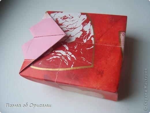Этому мишке, трепетно прижимающего к себе большое красное сердце без труда удасться передать нежность влюбленного сердца. Для коробочки потребуется два квадрата одинакового размера (в данном случае 20х20см): для медведя - один квадрат, такого же размера, как и для коробки. Дополнительно потребуется квадрат 1/4 от такой величины. фото 26