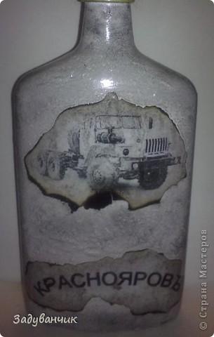 Бутылка первая, пробная, в технике жженный декупаж фото 2