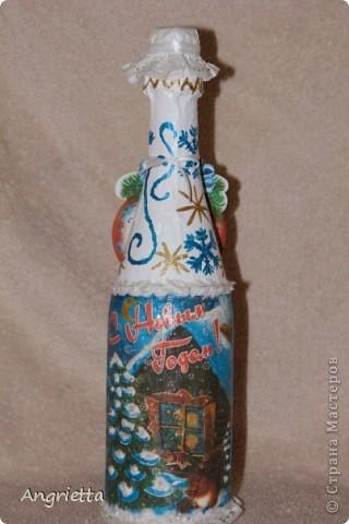 бутылочку и бокалы сделала в подарок для сестры и её мужа на 2-ую годовщину свадьбы  вид спереди фото 3