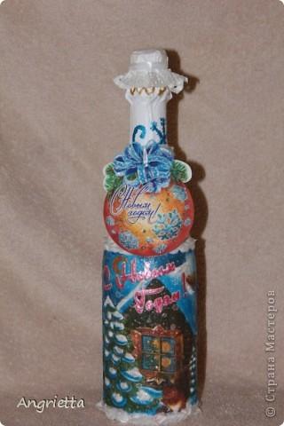 бутылочку и бокалы сделала в подарок для сестры и её мужа на 2-ую годовщину свадьбы  вид спереди фото 4