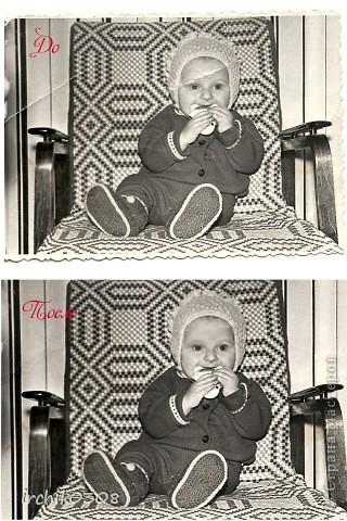 Обнаружила у свекрови детские фотографии мужа в очень непотребном виде ... Их и так совсем немного... забрала, решила реанимировать.  фото 1