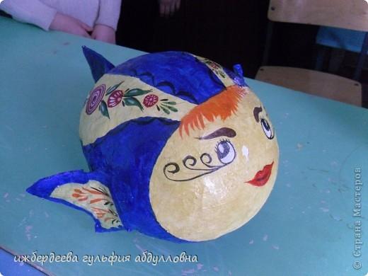 Городецкая рыбка.Сделана на шарик.Выполнила Ижбулатова Иркя.