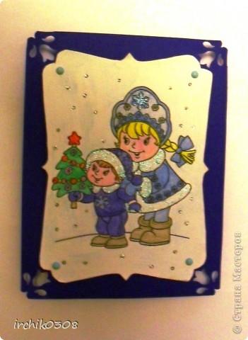 Это лицевая часть новогодней открытки, картинка раскрашена акварельными карандашами, мои дочка и сынок (символично для бабушки и деда).Прикрепила на брадс.  фото 1