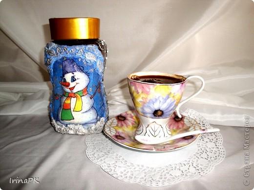 """Даже холодной зимой всегда согреет и порадует чашечка кофе из такой чудесной баночки. Вариант """"Зима"""". фото 1"""