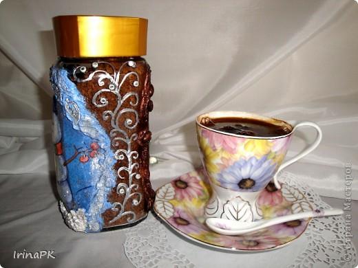 """Даже холодной зимой всегда согреет и порадует чашечка кофе из такой чудесной баночки. Вариант """"Зима"""". фото 2"""