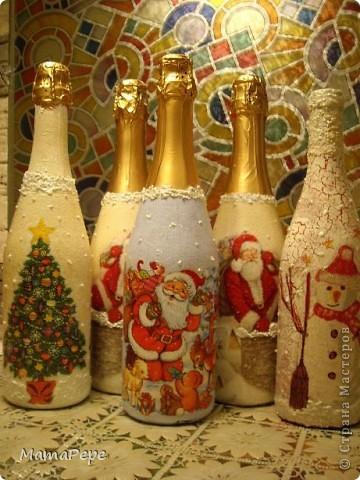 Как украсить шампанское салфеткой на новый год