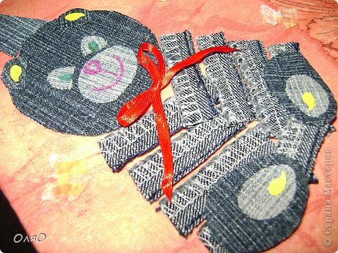 Детская открыточка по скетчу Лены  http://stranamasterov.ru/node/131341. Основа - бумага для акварели, обклеенная салфеткой; сам мишка и шарики вырезаны из джинсовых остатков; надпись сделана гелиевой ручкой фото 2