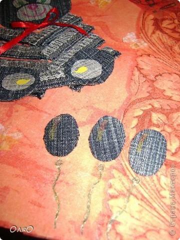 Детская открыточка по скетчу Лены  http://stranamasterov.ru/node/131341. Основа - бумага для акварели, обклеенная салфеткой; сам мишка и шарики вырезаны из джинсовых остатков; надпись сделана гелиевой ручкой фото 3