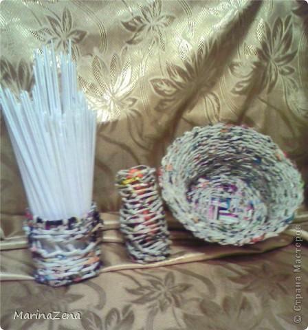 Первые работы в плетении из газет фото 4