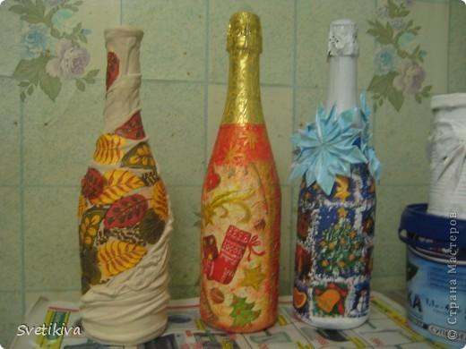 первый опыт декупажа. снежинки на бутылке - оригами фото 1