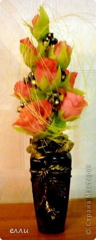 Очередная вазочка с розами(бутылочка из под тонального крема) фото 3