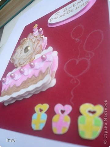"""3 февраля моей младшенькой исполнится 3 года, вот уже и открытка готова благодаря идеи со скетчем http://stranamasterov.ru/node/131341 . Она у нас сладкоежка поэтому и родилась идея сделать """"сладкую"""" открыточку. фото 2"""