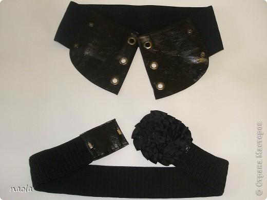 вот такие пояса у меня получились. Резинки купила, а кожаные части сделал из остатков от старых сапогов.  фото 1