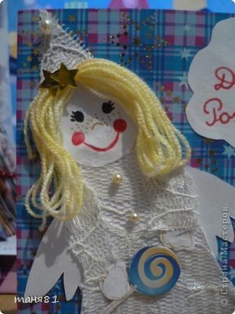 Не знаю подходит ли открытка к правилам игры  http://stranamasterov.ru/node/131341?c=favorite    Полинка просила подарить ей открытку с ангелочком или феечкой, и вот ,что получилось.   фото 4