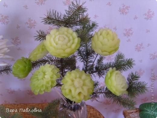 Георгины из зеленой редьки фото 1