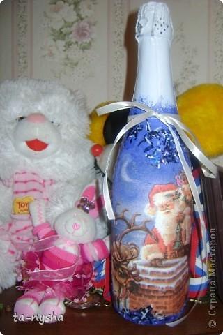 Это моя первая попытка декора бутылки. фото 2