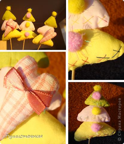 ёлочки на палочках можно поставить в цветочный горшок. шила в подарок. фото 1