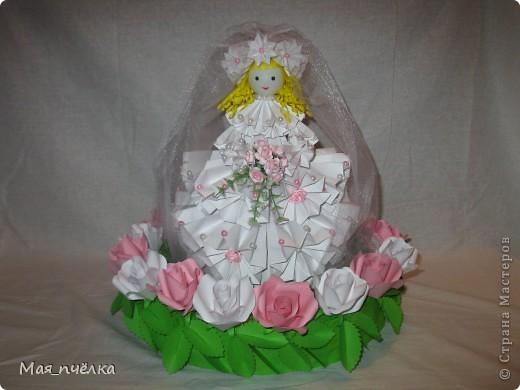 Вот таких кукол я делаю в технике модульного оригами. Это невеста. фото 1